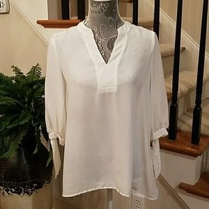 2b6c2e26eee Red Lolly 3 4 Sleeve Sheer White Tunic